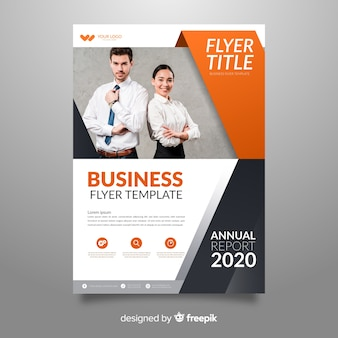 Template abstract business flyer with image