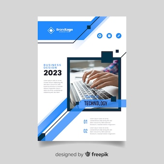 Template abstract business flyer with photo