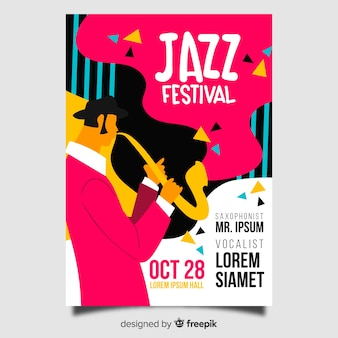 Template abstract hand drawn jazz poster