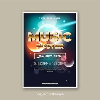 Template abstract light effect music poster
