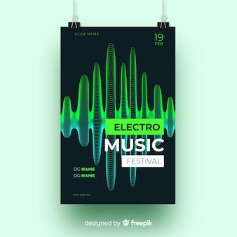 Шаблон абстрактного музыкального постера с волнами