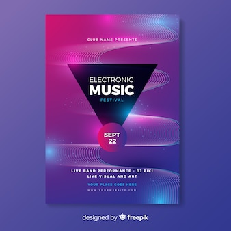 Template abstract wave electronic music poster