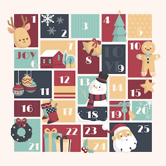 Template advent calendar flat design
