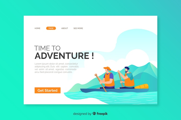 Template of adventure landing page