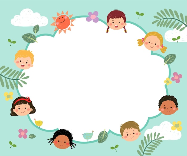 Template for advertising brochure with cartoon of happy kids with nature concept.