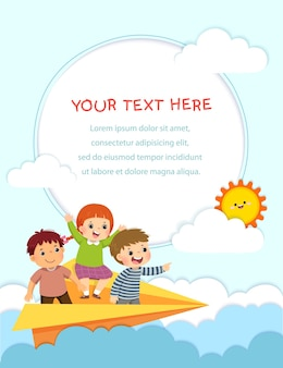 Template for advertising brochure with happy kids flying on the paper airplane in the sky