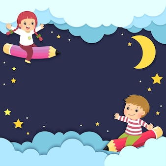 Template for advertising brochure with happy kids riding a flying pencils in the night sky