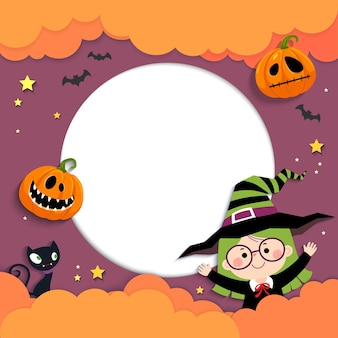 Template for advertising brochure with happy little witch girl and pumpkins in halloween concept