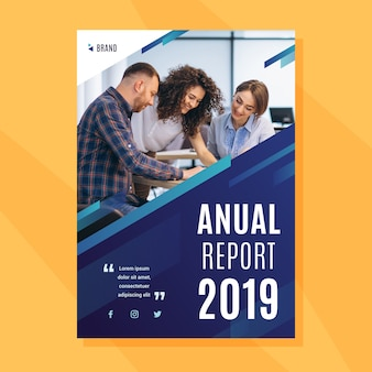 Template for annual report with photo