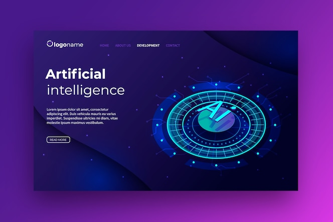 Template artificial intelligence landing page