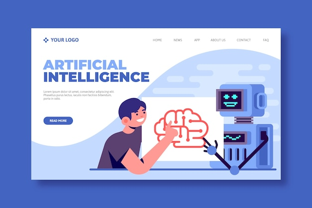 Template for artificial intelligence landing page