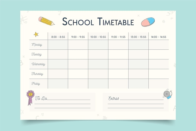 Template for back to school timetable
