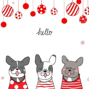Шаблон фон мило собака на рождество и новый год