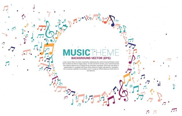 Шаблон баннера и афиши красочная музыка мелодия нота танцевальный поток