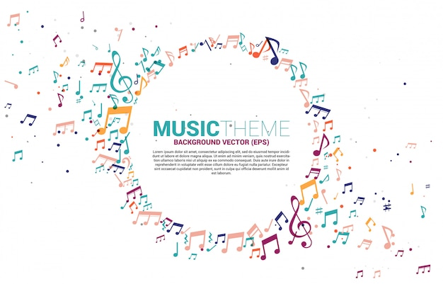 Template banner and poster colorful music melody note dancing flow