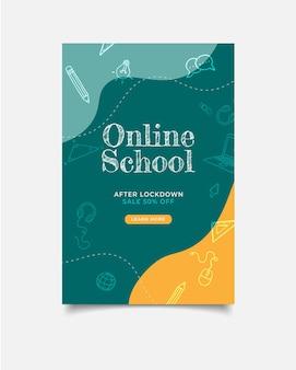 Template banner poster online school opening registration