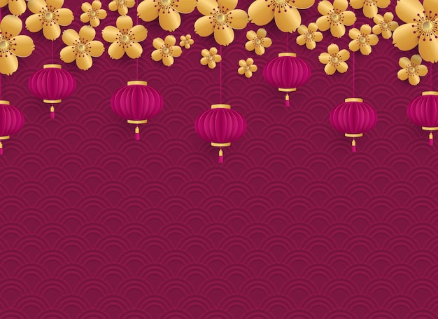 Template for banner, poster, postcard. golden cherry flowers and chinese lanterns on a pink background with embossed. vector illustration