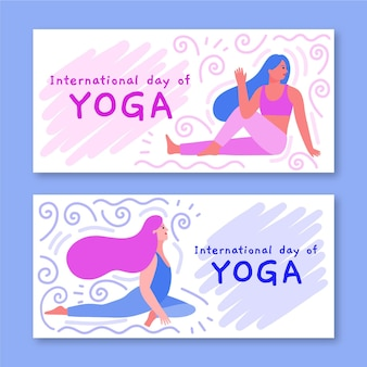 Template for banners with international day of yoga