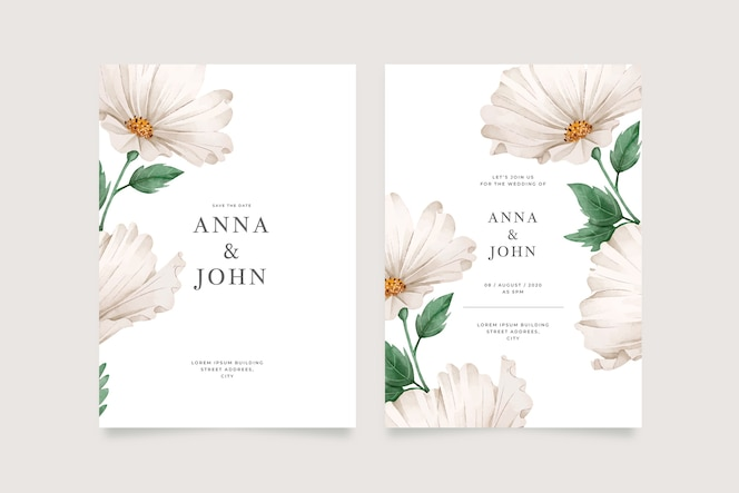 Template big flower wedding invitation