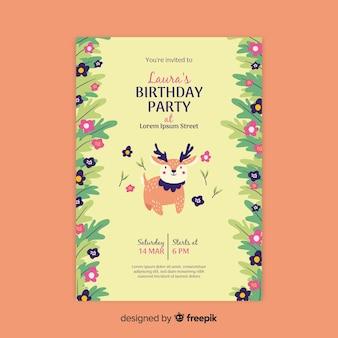 Шаблон приглашения на день рождения цветочный