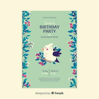 Template birthday invitation floral