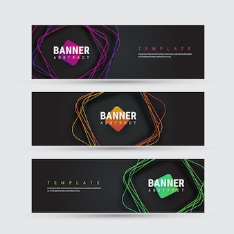 Template of a black banner with square multicolored lines with rounded corners with a shadow.