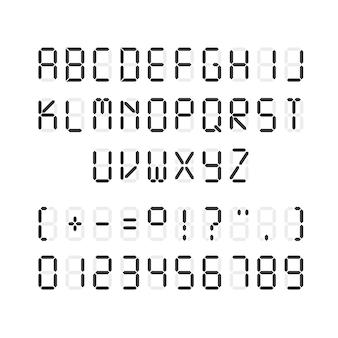 Template of black digital font illustration of letters