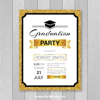 Template of black and gold graduation party leaflet