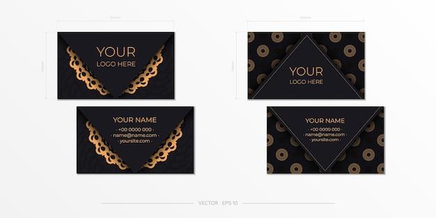 템플릿 블랙 프레젠테이션 명함입니다. 장식용 명함 장식품, 동양 패턴, 삽화. 인쇄 준비, 인쇄 요구 사항 충족