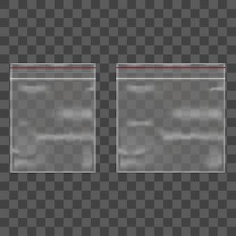 テンプレートブランク透明パッケージセットビニール袋ジッパー。
