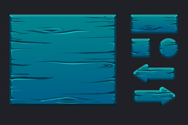 グラフィカルユーザーインターフェイスのテンプレート青い木製メニュー