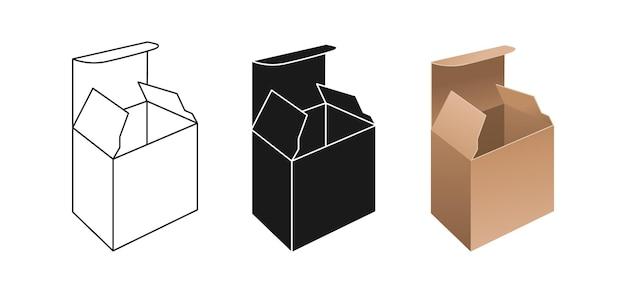 템플릿 상자 세트. 현실적인 선형 및 검은 색 글리프 스타일 포장 선물 상자 컬렉션
