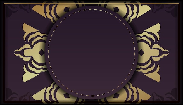 Template brochure burgundy color with mandala gold pattern prepared for typography.