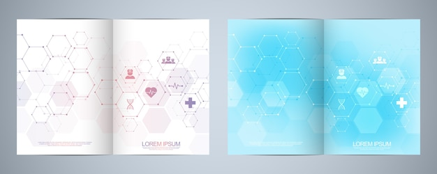 Template brochure or cover book, page layout, flyer design. concept and idea for health care business, innovation medicine, pharmacy, technology. medical flat icons and symbols.