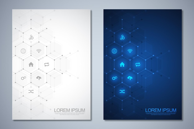 Template brochure or cover book page layout flyer design with technological background