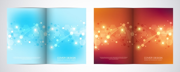 Template for brochure or cover with molecular structure background and connected lines and dots.