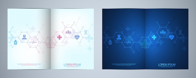 Брошюра или обложка шаблона, книга, флаер, с медицинскими значками и символами. концепция технологии здравоохранения, науки и медицины.