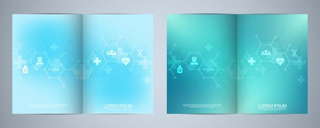 テンプレートパンフレットまたはカバーブック、ページレイアウト、チラシデザイン。ヘルスケアビジネス、イノベーション医学、薬局、テクノロジーのコンセプトとアイデア。医療フラットアイコンと記号。