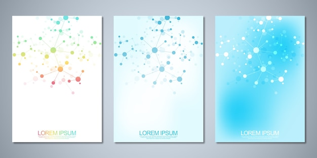 Template brochures or cover , book, flyer, with molecules background and neural network.