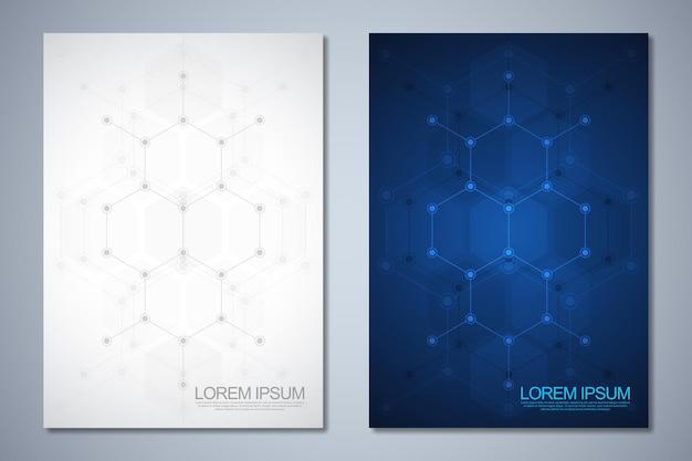 六角形の形のパターンの抽象的な背景を持つテンプレートパンフレットまたはカバーデザイン、本、チラシ。科学とイノベーション技術のコンセプトとアイデアを備えたテンプレートデザイン。