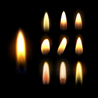Template of burning candle, flame set isolated on black background