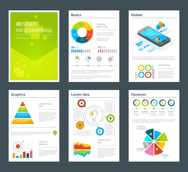 Template of business annual reports.  brochure flyer for annual report illustration