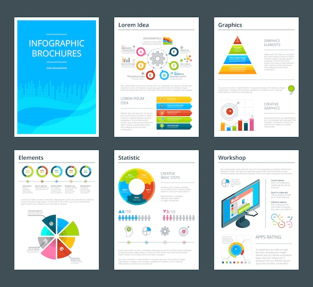 Template of business brochure with infographics