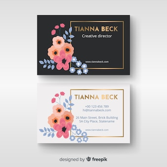 Template business card floral with golden lines