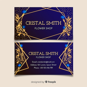 Template business card golden floral