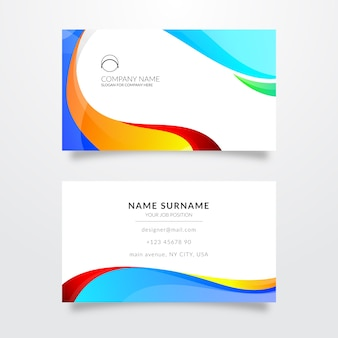 Template for business card with colors