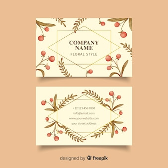 Template business card with golden lines floral