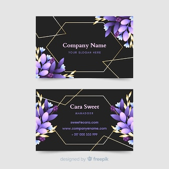 Template business card with golden lines