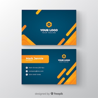 Template business card with gradient