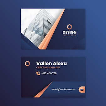 Template for business card with photo